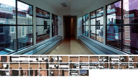 Two installation views of the south-facing windows plus source image index of bridge exterior