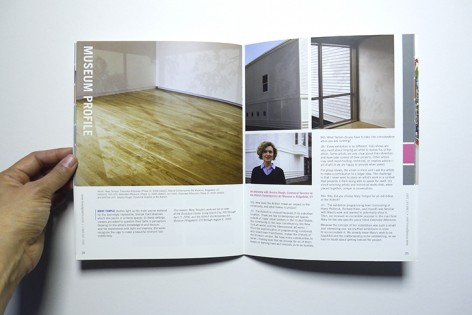 Issue 5 spread featuring Mary Temple at the Aldrich Museum of Contemporary Art, CT